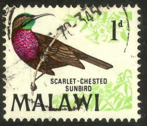 MALAWI 1968 1d Scarlet-chested Sunbird BIRDS Pictorial Sc 95 VFU