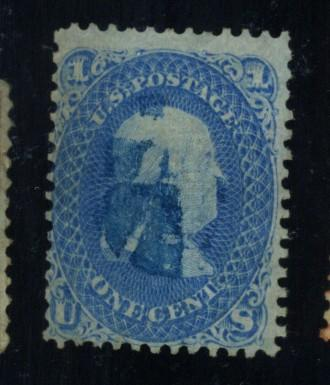 92 Used Fine Blue Cancel Corner crease Cat$470
