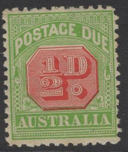AUSTRALIA SGD77a 1914 ½d ROSINE & BRIGHT APPLE GREEN WMK SIDEWAYS p11 MTD MINT