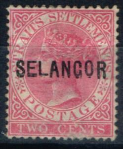 Selangor 1883 2c Pale Rose SG21a Type14 Wide E Opt Double Mtd Mint Large Part OG