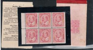 Canada #90b Mint Very Fine Scarce Booklet Pane Full Original Gum Hinged