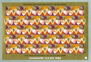 Denmark. Christmas Sheet 1988. Mnh. Folded. 4 Sides Perfor. Angels.