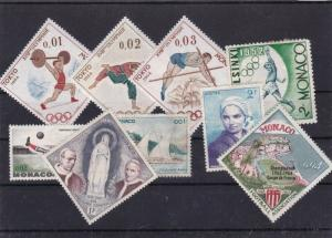 MONACO MOUNTED MINT AND USED STAMPS ON STOCK CARD REF 1071