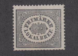 Sweden Sc LX1p MNG. 1868 3ö black Local issued for City Postage, First Reprint