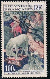 FRENCH POLYNESIA 1958 100f Gauguin fine used. SG cat £16....................A559