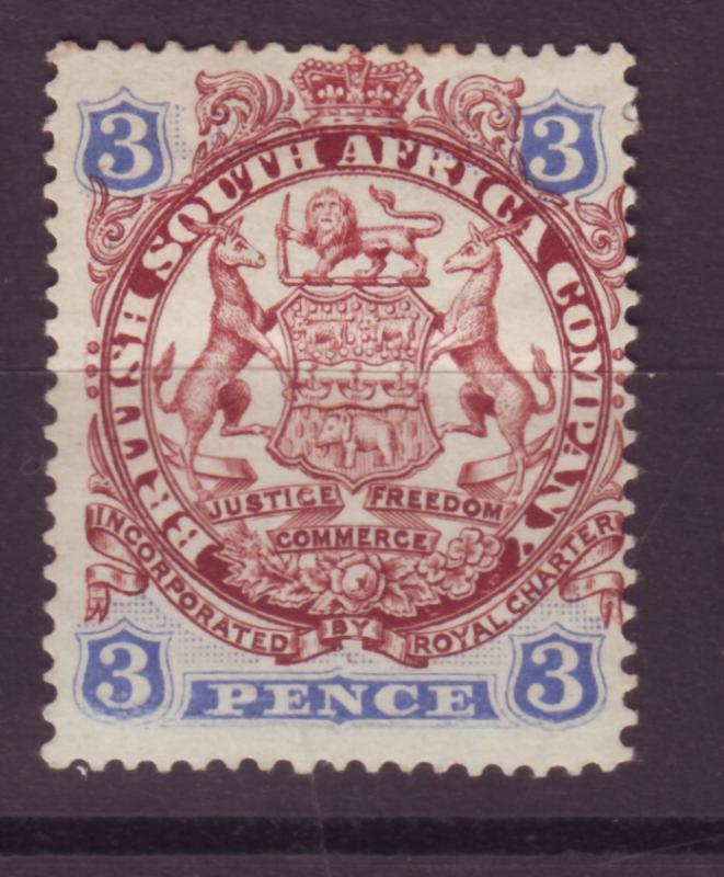 J17053 JLstamps 1896 rhodesia mhr #29 coat of arms