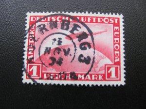 GERMANY 1931 USED SC# C35 1 MARK ZEPPELIN  GREAT ROUND CANCEL (113)