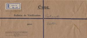 Ireland Official Free Mail 1948 [Dublin] Registered to Boston, Mass. Corner c...
