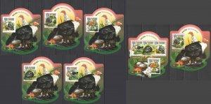 LX573 2015 SIERRA LEONE BIRDS GUINEAFOWLS !!! GOLD KB+BL+5 UV CARDBOARD MNH