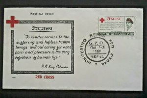 1966 Nepal Red Cross HM King Mahendra Quote First Day Illustrated Cover