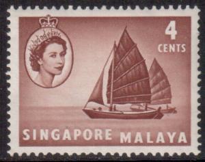 Malaya Singapore Scott 30 - SG40, 1955 Elizabeth II 4c MH*