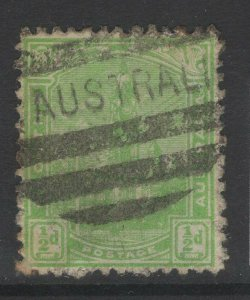 SOUTH AUSTRALIA SG241 1899 ½d YELLOW-GREEN p13 USED