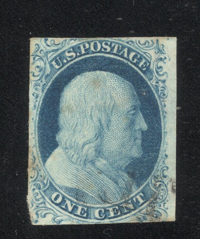 US#7 Blue - Type II - Light Cancel - Cat.$150.00