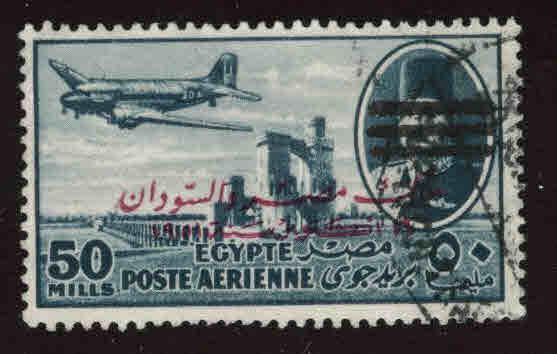 EGYPT Scott C87 Used 1953 Bar obliterated and overprinted airmail