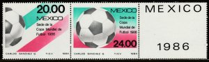 MEXICO 1373a Promotion for 1986 Soccer World Cup pair + label MINT, NH. VF