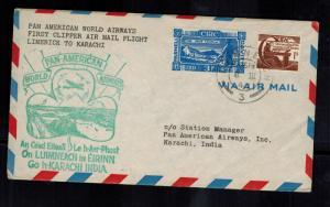 1947 Limerick Ireland First Flight Cover to Karachi India Pan American Airways
