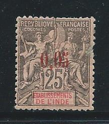 French India 20 1903 5c Surcharge single MH FAULTS