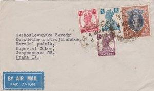 India 1/2a, 1a, 6a and 1R KGVI 1947 Lahore G.P.O. Airmail to Prague, Czechosl...