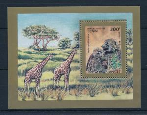 [31160] Benin 1995 Wild animals Mammals Monkeys Giraffes MNH Sheet