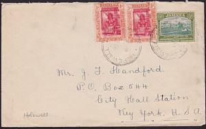 JAMAICA 1923 cover to USA - HOPEWELL cds....................................7467