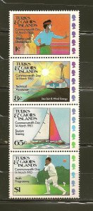 Turks and Caicos Islands 555-558 Commonwealth Day 1983 Se-tenant Strip of 4 MNH