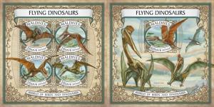 Z08 IMPERF MLD17604ab MALDIVES 2017 Flying dinosaurs MNH ** Postfrisch Set