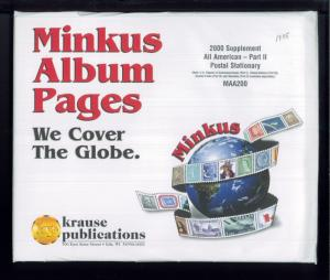 2000 All American Part 2 Postal Stationary Minkus Stamp Album Supplement Pages