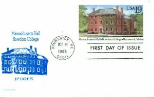US FDC #UX173 Massachusetts Hall, Bawdoin College, JLP Cachets (1843)