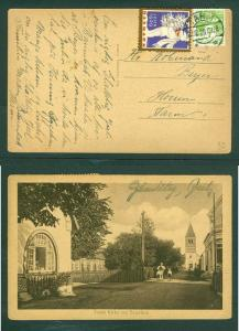 Denmark. Christmas Card 1929 Tarm Church  With Seal + Scott # 91.  Cancel: Tarm
