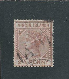 BRITISH VIRGIN IS 1879-80 2½d RED-BROWN FU SG 25 CAT £130