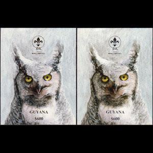 GUYANA 1993 - MI# B263-4 S/S Owls NH