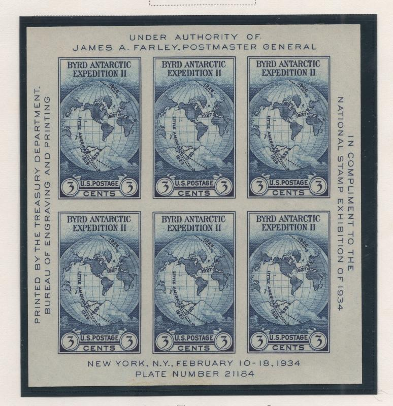 United States US 1934 National Exhibition Byrd Imperf Souvenir Sheet 6 Stamps