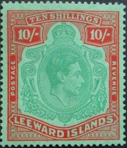 Leeward Islands 1945 GVI Ten Shillings (Green and Red) Keyplate SG 113b mint