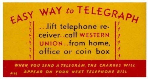 US - Western Union 'EASY WAY to TELEGRAPH' Poster Stamp