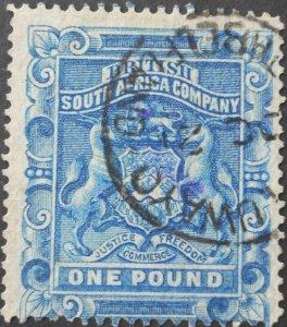 Rhodesia 1892 One Pound SG 10 used