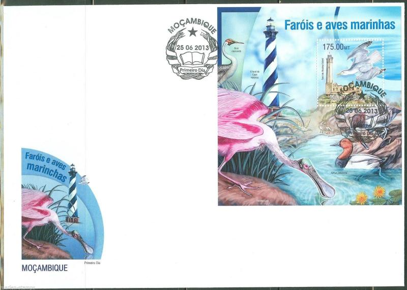 MOZAMBIQUE  2013 LIGHTHOUSES AND MARINE BIRDS  SOUVENIR SHEET FIRST DAY COVER