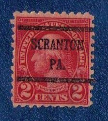 US Scott 583 Precancel Scranton,Pa Lake VF Centering