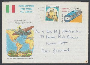 ITALY 1992 800L aerogramme uprated commercially used to New Zealand.........L194