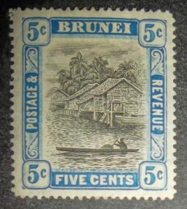 BRUNEI KGV 1907 5c Scott #21 SG27 Lightly Hinged High CV Free US Shipping