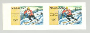 Nagaland (Propaganda) 1971 Skiing, Olympics 1v Imperf S/S Collective Proof Pair