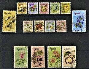STAMP STATION PERTH Uganda #115-129  Flower Set Postal Used