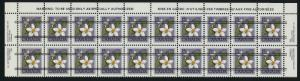 Canada 787xx Top strip of 20 Precancelled MNH Flower, Canada Violet