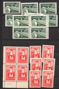 Canada USC #362-363 Mint (10) F-VF-NH Cat/ $42.50 1956 20c Paper & 25c Chemival
