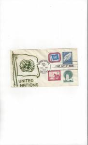 United Nations 1, 2, 4, 5  First Definitives Velvetone FDC Cachet