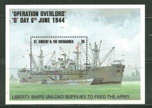 St. Vincent MNH S/S 2086 D-Day Liberty Ship SCV 5.25