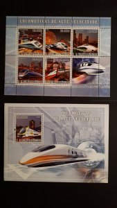 Trains and locomotives - Sao Tome and Principe 2007 - Complete SS+Bl ** MNH