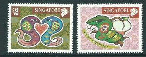 SINGAPORE SG1082/3 2000 YEAR OF THE SNAKE  MNH