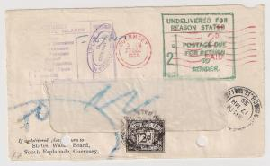GREAT BRITAIN Due #J58 (Gibbons D59) FRONT returned Guernsey