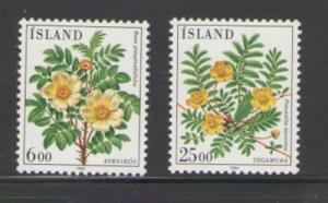 Iceland Sc 586-7 1984 Flowers stamp set mint NH