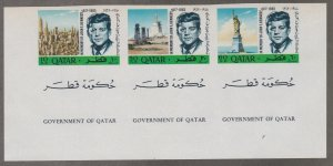 Qatar # 102-102A, John F. Kennedy Memorial, Imperf, NH, 1/2 Cat.